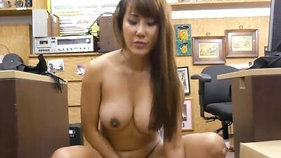 Asian with big Tits submits to the seller store in the back