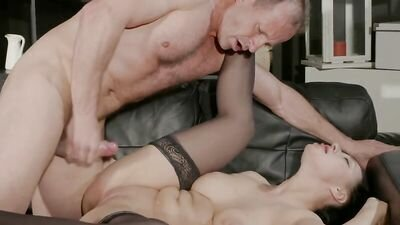 Busty brunette got into the hole between the legs the penis of a Mature man