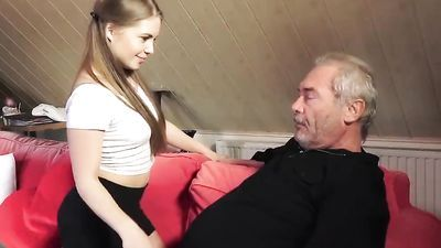 Grandfather charges his old dick in my wet and tight 18 year old pussy