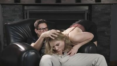 A lovely lady sucks hat bespectacled friend before hot fucking with him