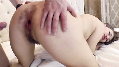 Happy guy powerful hammer in the bedroom girlfriend sister with hairy pug