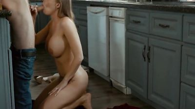 The stepson came into the kitchen where he was met by sexy stepmom
